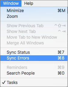 Window Menu with Sync Errors highlighted