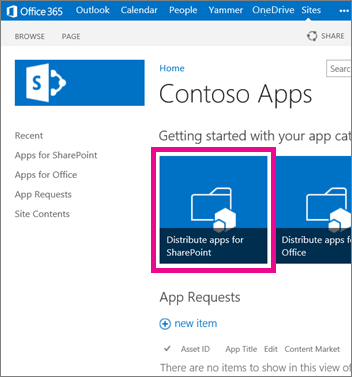 The Distribute Apps for SharePoint tile on an App Catalog site