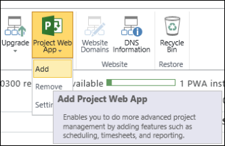 Project Web App > Add