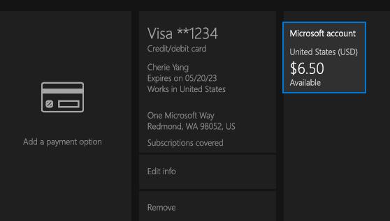 Check your Microsoft account balance