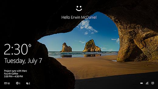 Start screen with Windows Hello greeting