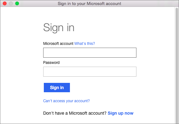 Enter the credentials for your Microsoft account to access services associated with your account.