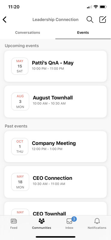 Screenshot showing discovering liee events on mobile