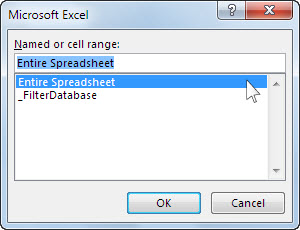 Microsoft Excel dialog box in Word