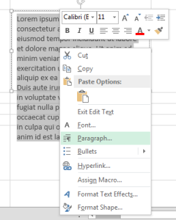 On the right-click menu, click Paragraph.