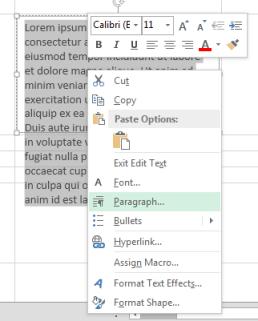 On the right-click menu, click Paragraph.