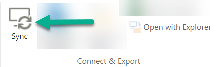 The Sync option is on the SharePoint ribbon, just to the left of Open With Explorer.