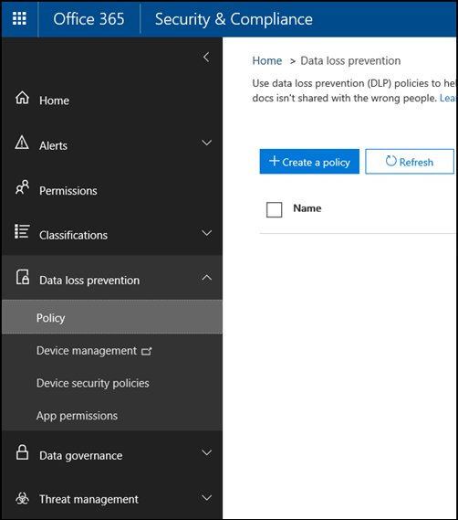 Data loss prevention page in the Office 365 Security & Compliance Center