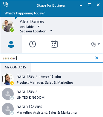 Screenshot of the Skype for Business window while searching for a contact to add.