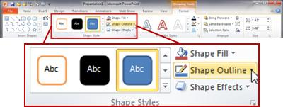 Under Drawing Tools, the Format tab in the PowerPoint 2010 ribbon.