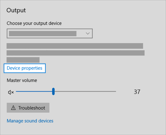 sound output device properties link in sound menu