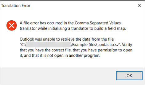 This is the error message that you'll get when the .csv file is empty.