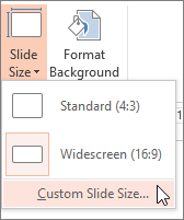 custom slide size menu option