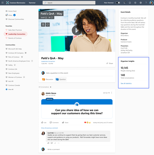 Screenshot highlighting the Organizer Dashboard for Live Event insights