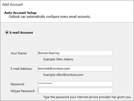 Screenshot for adding an email account to Outlook