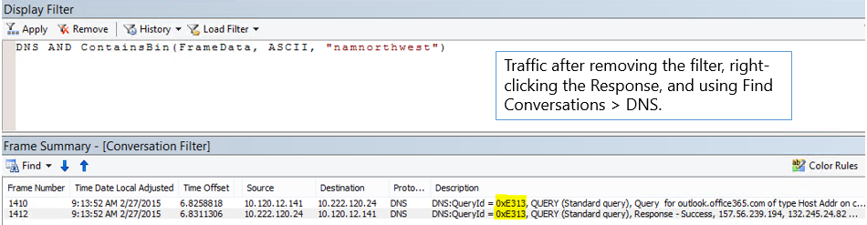 A trace filtered by Find Conversations then by DNS.