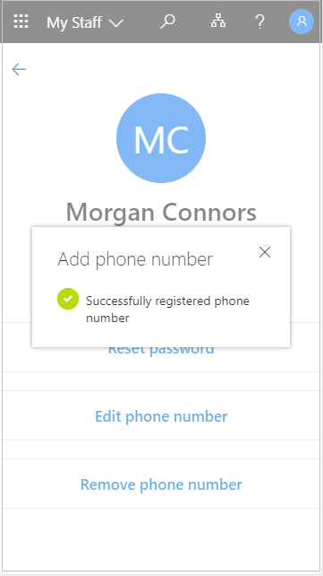 Save the added user phone number in My Staff