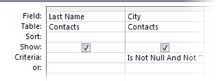 query designer with criteria where City field is neither set to null nor is blank.