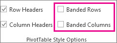 Banded Rows and Banded Columns boxes on the Design tab