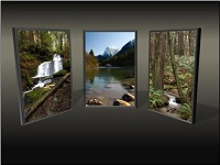 Custom animation effects: picture triptych, slide 5, picture returns to right