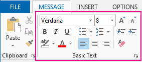 The basic text group in the message ribbon