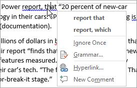 Showing Grammar error context menu