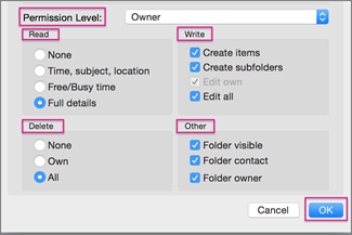Set permission levels for your shared calendar