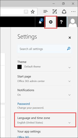Screen shot: Settings panel depicting settings icon and language settings