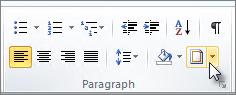 Borders on Paragraph tab