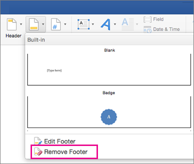 Delete a header or footer from a single page in word 2016 for mac on the footer menu remove a footer is highlighted ccuart Choice Image