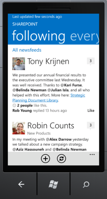Screenshot of Newsfeed app on Windows Phone