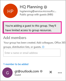 Warning message about adding guests to groups