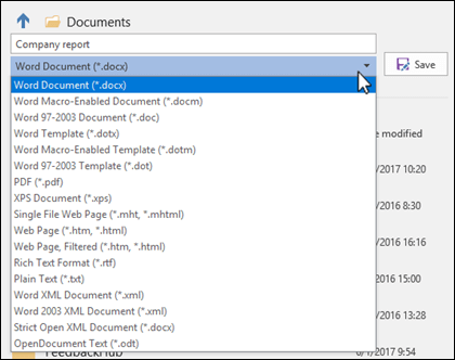 Click the file type drop down to select a different file format for your document