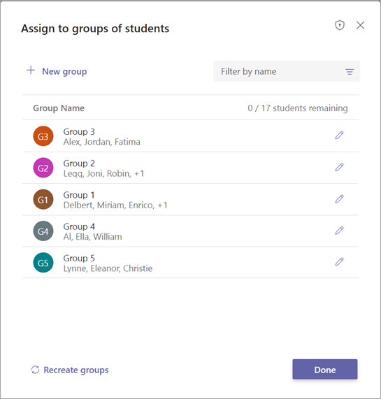 List of student groups with options to confirm or edit
