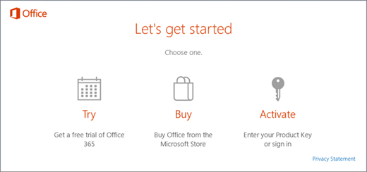 A screenshot that shows the default try, buy, or activate options for a PC that comes with Office pre-installed.