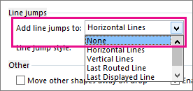 Select None to eliminate line jumps from connector lines.