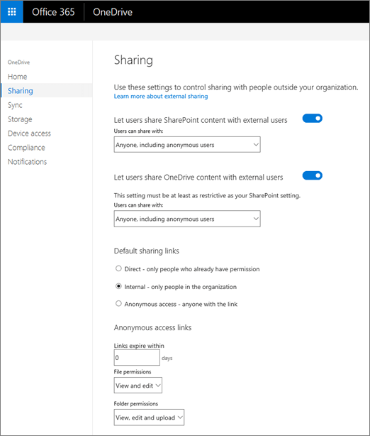 The Sharing tab of the OneDrive admin center
