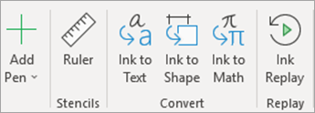 Draw tab with Ink to Math and Ink Replay icons.
