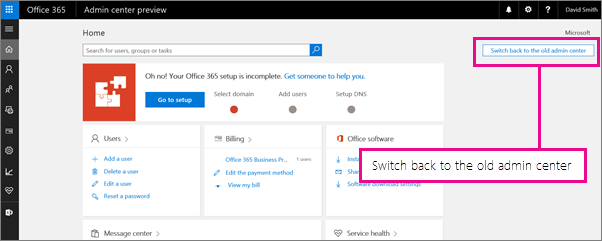Switch back to the old admin center