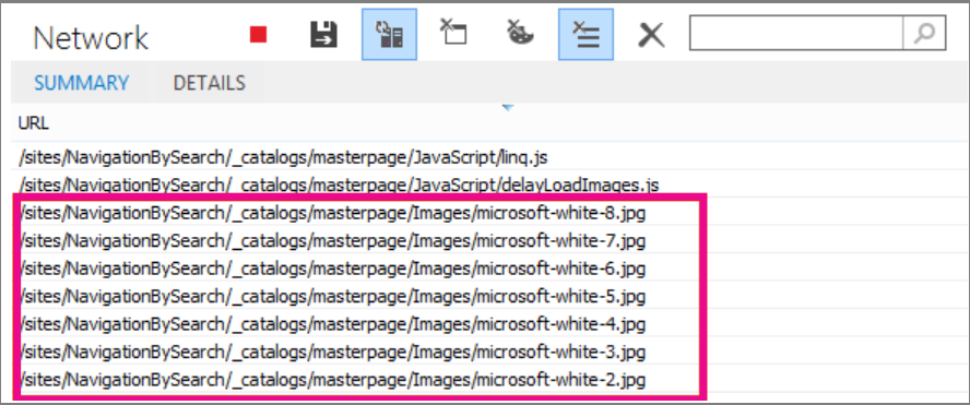 Screenshot showing several images loaded on page