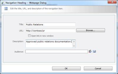 Navigation Heading dialog