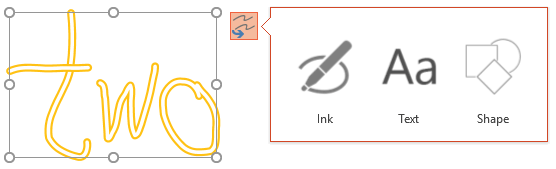 Convert Your Ink shows which kind of object it can attempt to convert the selected object to.