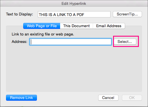 Shows the Insert Hyperlink dialog in PowerPoint 2016 for Mac