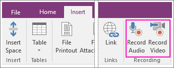 Screenshot of the Insert menu with AV buttons in OneNote 2016.