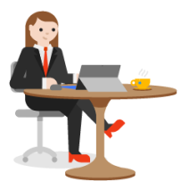 Illustration of a woman working on a laptop