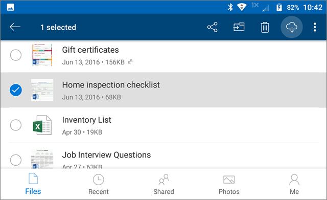 Mark OneDrive files for offline