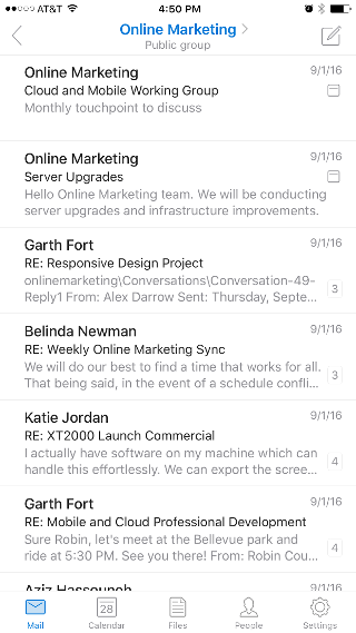 Shows a group shared mailbox, with the group header name at the top.