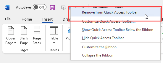Remove command from Quick Access Toolbar