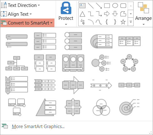 Shows the options in the Convert to SmartArt gallery