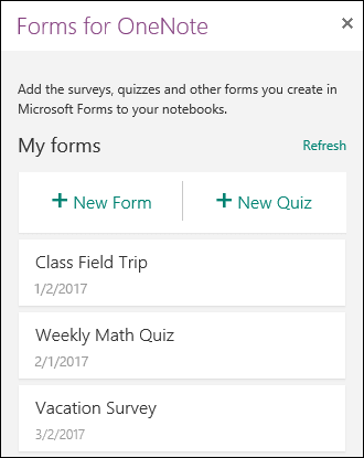Forms for OneNote panel in OneNote for the web